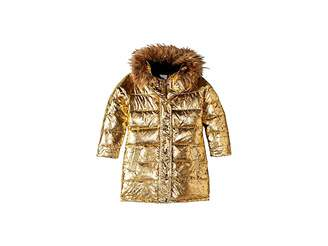 Appaman Kids Metallic Long Down Coat with Faux Fur Hood (Toddler/Little Kids/Big Kids)