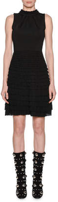 Giambattista Valli Sleeveless Knit Mock-Neck Tiered Ruffled A-Line Dress
