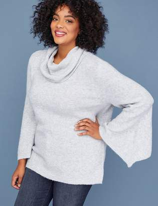 Lane Bryant Bell-Sleeve Cowl-Neck Sweater