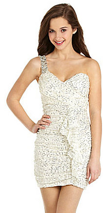 Sequin Hearts One-Shoulder Ruffle Dress
