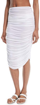 Norma Kamali Shirred Knee-Length Coverup Skirt