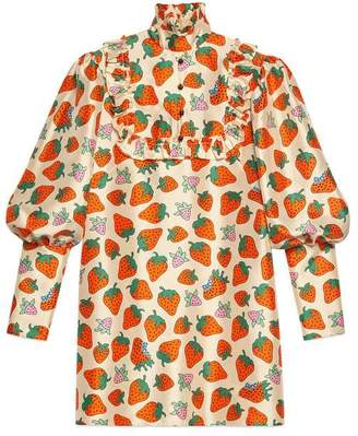 Gucci Silk top with Strawberry print