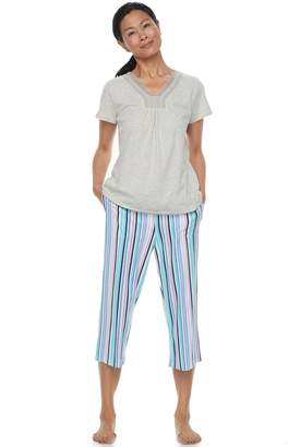 Croft & Barrow Women's Pajamas: Island Getaway Lace Tee & Capris PJ Set