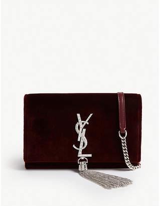 Saint Laurent Kate velvet wallet-on-chain
