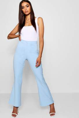 boohoo Button Hem Detail Flare Trouser