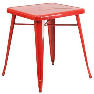 Ebern Designs Ebern Designs Red Metal Indoor-Outdoor Table Set With 2 Arm Chairs Ebern Designs