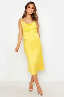 boohoo Petite Satin Bias Midi Skirt