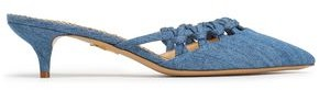 Charlotte Olympia Patti Cutout Knotted Suede Mules