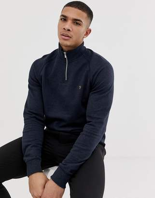 Farah Jim half zip marl sweat in navy