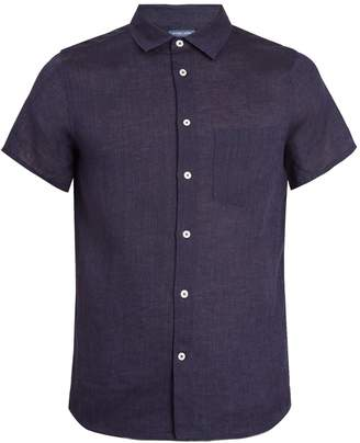 FRESCOBOL CARIOCA Point-collar short-sleeve linen shirt