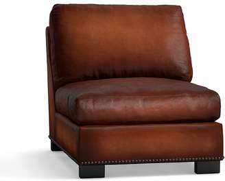 Pottery Barn Turner Leather Armless Chair with Nailheads
