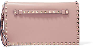 Valentino - The Rockstud Leather Clutch - Blush