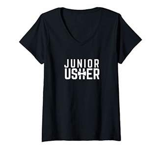 Womens Junior Usher Ceremony Attendant Wedding Rehearsal V-Neck T-Shirt