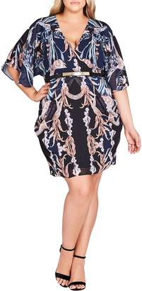 City Chic Deco Print Belted Dress