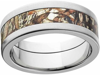 Mossy Oak Duckblind Men's Camo 8mm Stainless Steel Wedding Band with Cross Brushed Edges and Deluxe Comfort Fit
