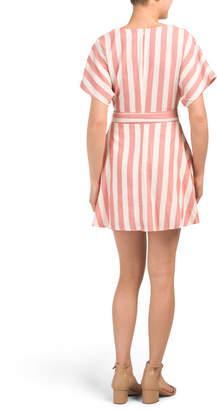 Moon River Striped Button Front Tie Mini Dress