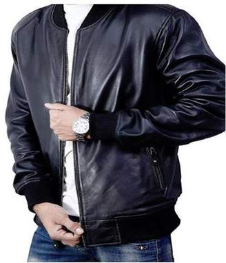 De-Marca Bomber Jacket men, Black Genuine Lambskin Leather Jacket for Men, Novelty Style