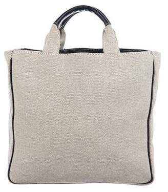 Lambertson Truex Leather-Trimmed Woven Tote
