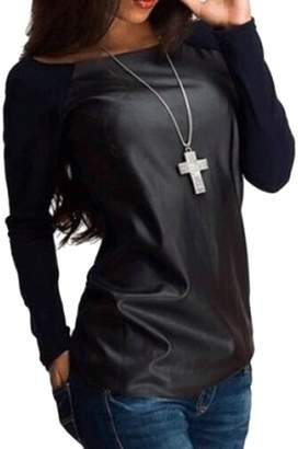 Cruiize Womens Crewneck Long Sleeve Faux Leather Splice Blouse Top T Shirt Large