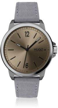 HUGO Nubuck-strap watch with brushed coffee-colour dial