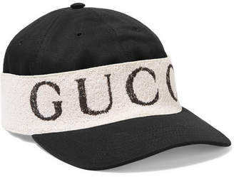 Gucci Cotton-twill And Printed Terry Baseball Cap - Black