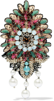 Etro - Embroidered, Bead, Crystal And Faux Pearl Brooch - Mint $210 thestylecure.com