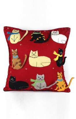 New World Arts Nine Cats Accent Pillow