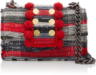 Kooreloo New Yorker Soho Fabric Shoulder Bag with Large Pom Poms