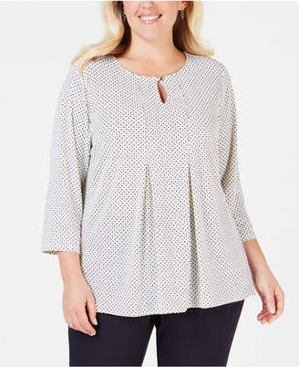 Charter Club Plus Size Printed Keyhole Top