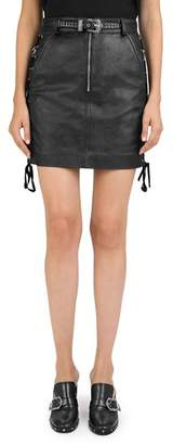 The Kooples Lace-Up Leather Skirt