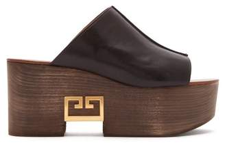Givenchy Logo Plaque Platform Leather Mules - Womens - Black
