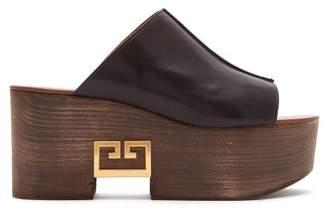 Givenchy Logo Plaque Platform Leather Mules - Womens - Black