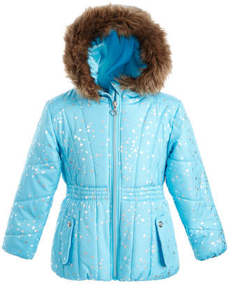 S. Rothschild Toddler Girls Hooded Foil-Print Jacket With Faux-Fur Trim