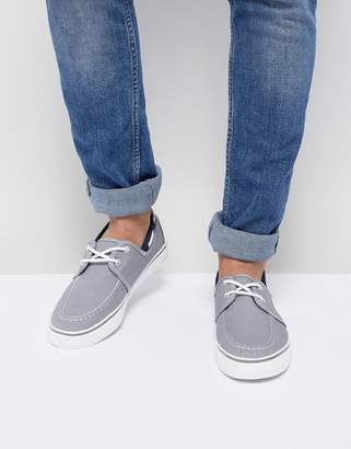 New Look Canvas Boat Shoe In Mid Gray
