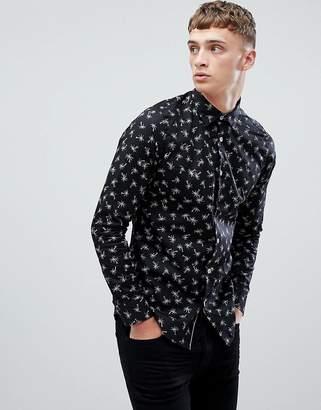Ted Baker slim long sleeve shirt in palm print