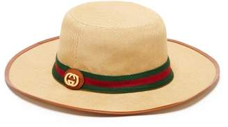 Gucci Gg Web Stripe Cotton Canvas Fedora Hat - Mens - Beige