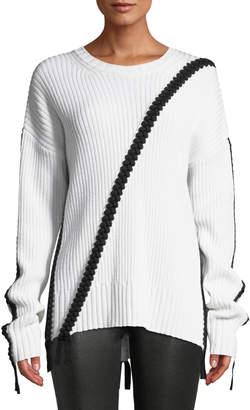 Derek Lam 10 Crosby Ribbed Wool Crewneck Sweater w/ Braided Detail