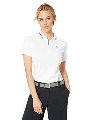Lacoste Women's S/S Polyester Logo Golf Polo, White/Navy Blue