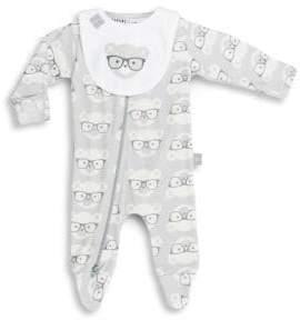 Huxbaby Baby's Nerd Bear Print Romper& Bib Gift Set