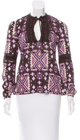 Tory BurchTory Burch Crocheted-Accented Printed Top