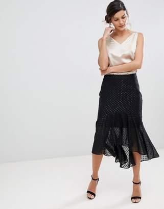 Coast Mima hi-low mesh dot midi skirt