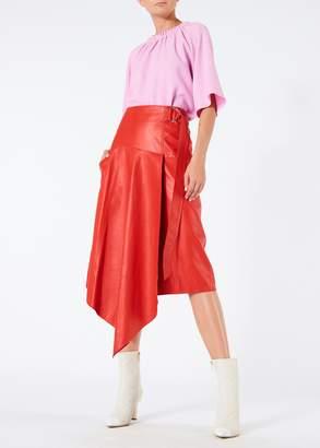 Tibi Tissue Leather Asymmetric Drape Skirt