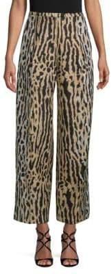 Valentino Leopard Jacquard Wide-Leg Wool Pants