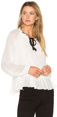 Line & Dot Tikk Peasant Top in White $75 thestylecure.com