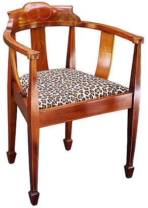 One Kings Lane Vintage English Barrel-Back Chair - C. 1920 - Faded Rose Antiques LLC