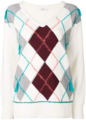 Closed argyle knit sweater