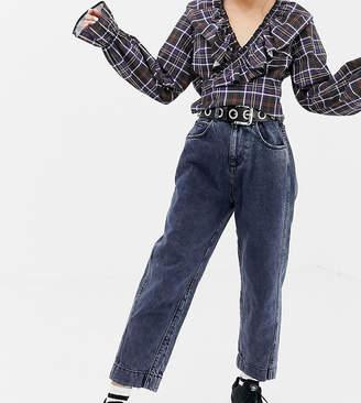 Collusion COLLUSION Petite mom jeans in dark snow wash