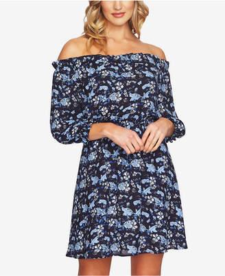 CeCe Printed Off-The-Shoulder Dress