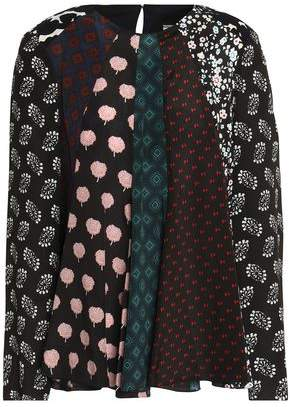Lanvin Fluted Printed Silk Crepe De Chine Blouse