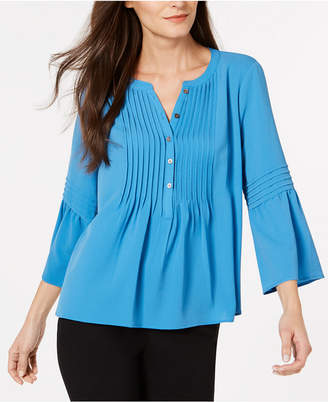 CeCe Pintuck-Trim Bell-Sleeve Top